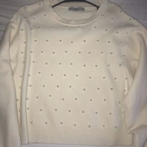 Cream sweater with pearls